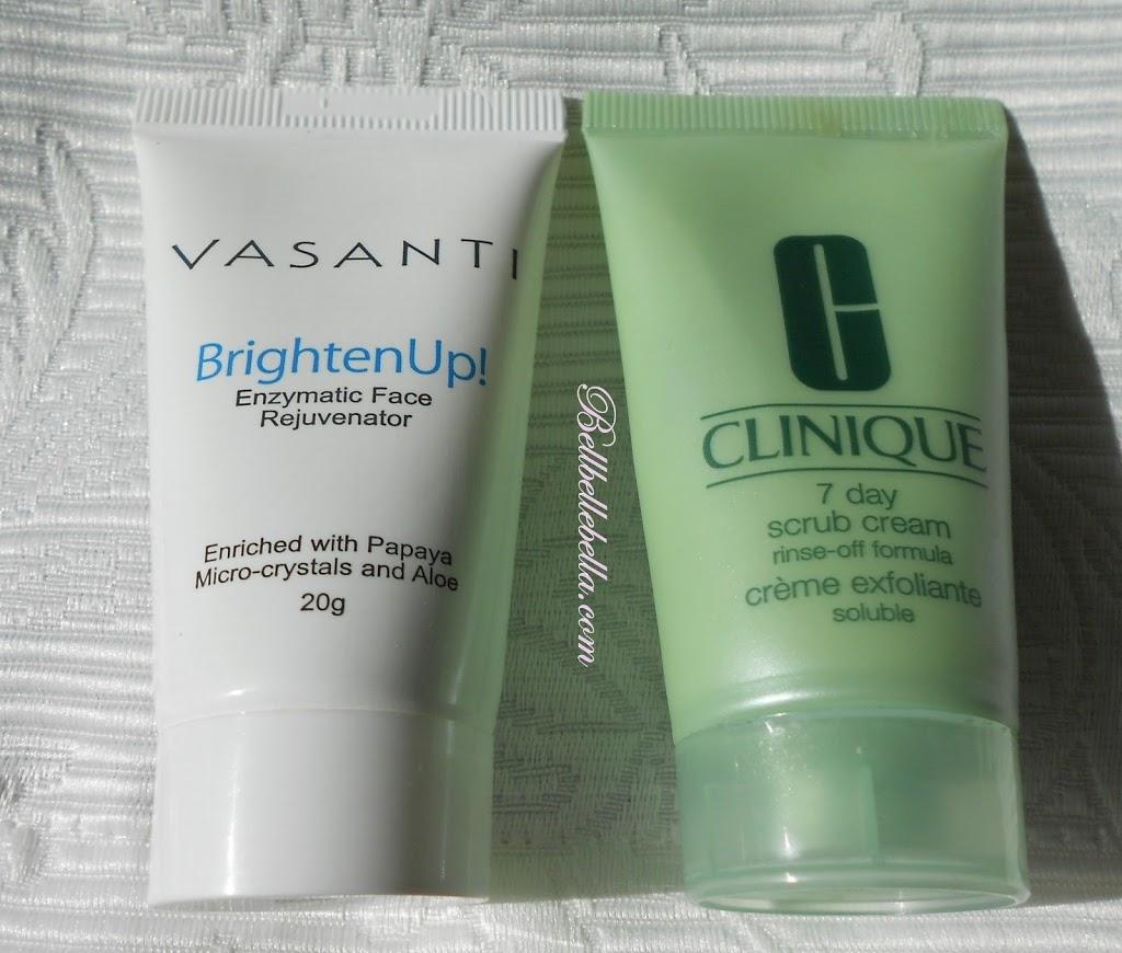 Faceoff: Vasanti BrightenUp! Enzymatic Face Rejuvenator vs. Clinique7Day Scrub Cream Rinse Off Formula graphic