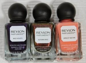 Revlon Parfumerie Scented Nail Enamels Wild Violets, Autumn Spice, Apricot Nectar