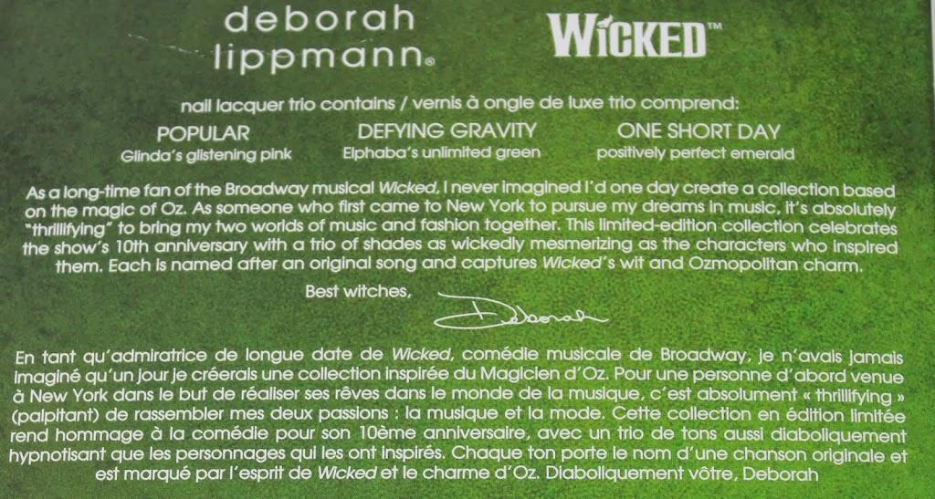 Deborah Lippmann Wicked The Musical Nail Polish Trio